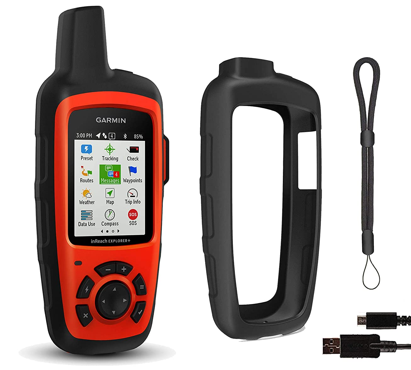 Garmin inReach Explorer+ Hiking GPS Bundle | with PlayBetter Protective Silicone Case & GPS Tether Lanyard | Belt Clip, Carabiner Clip | GEOS, Weather, Messaging esckthpkmrte1