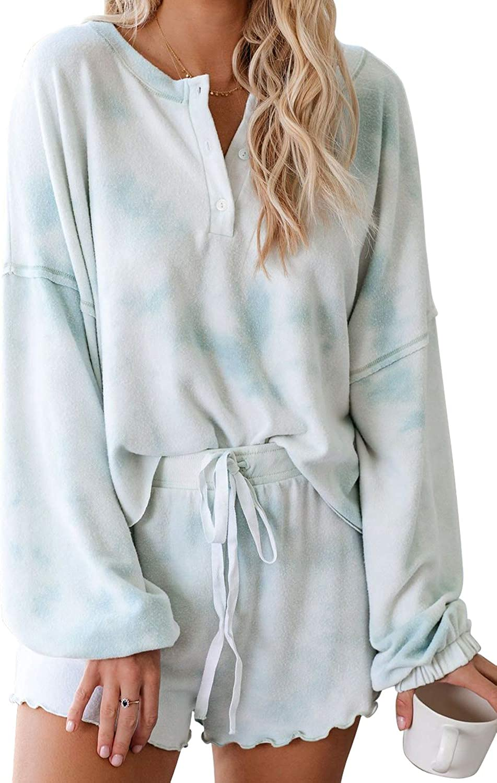 Lopie Womens Lounge Sets 2 Piece Pajamas Set Long Sleeve Tops and Shorts Sleepwear Tie Dye Printed Nightwear