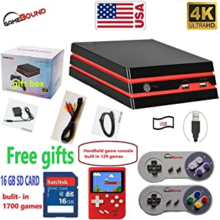 HDMI/AV Retro Video Game Console 16 GB SD, 1700 Games built-in, 2 x SNES wired controllers(RS-93) New model + handheld game console