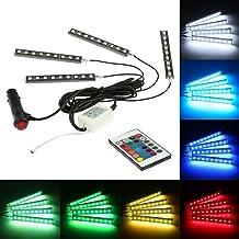 KKmoon 4 en 1 Lámpara Barra LED Luz de Decoración Interior Atmósfera 7 Color RGB para Coche Auto con Mando a Distancia Inalámbrico