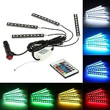 KKmoon Luz Interior Coche con Control Remoto, 4 Barras Led Coche Interior , Luz de Atmósfera 7 Color RGB