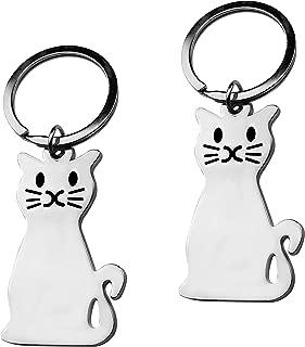 Silvertone Feline Sitting Crazy Whisker Kitty Cat Tail Pur Meow Animal Pet Bag Charm Pendant Keychain.