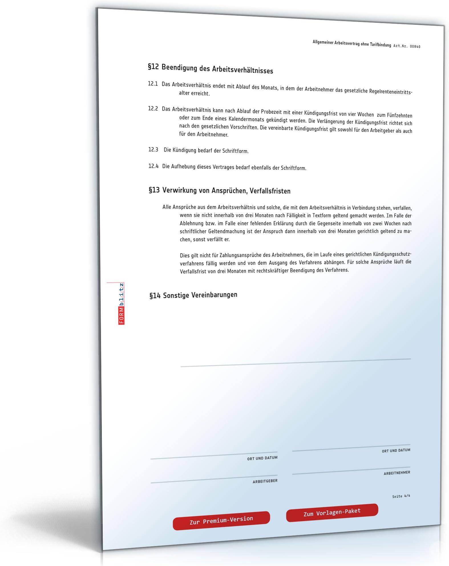 Pdf kündigung arbeitsvertrag muster kostenlos Arbeitsvertrag kündigen: