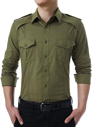 Allegra K Camisa De Mangas Largas para Hombres Estilo Militar ...