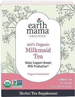 Organic Milkmaid Tea by Earth Mama | Supports Healthy Breastmilk Production and Lactation, Herbal Breastfeeding Tea Supple...