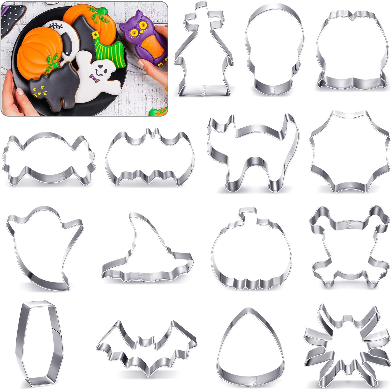15 Regular dealer Pieces Excellent Large Halloween Cookie Stainless Cutters Steel