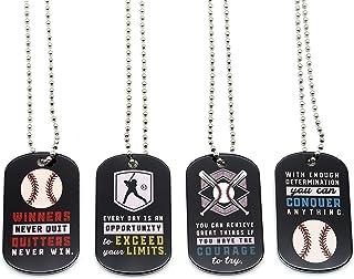 (12-Pack) Baseball Motivational Dog Tag Necklaces - Wholesale Bulk Pack of 1 Dozen Necklaces - Party Favors Sports Gifts U...