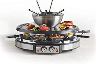 GIVENEU Electric Fondue Pot Sets with BBQ Grill, 1500W Fondue Pots with 8 Forks and Electric Raclette BBQ Grill, Dual Adju...