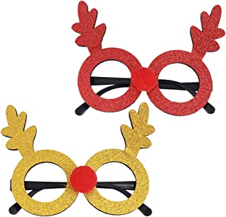 Amosfun Novelty Christmas Glasses Fancy Eyeglasses Frames Funny Eyewear Xmas Photo Booth Props Party Supplies Decoration for Kids 2pcs