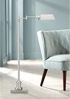 Jenson Modern Pharmacy Floor Lamp Adjustable Swing Arm Brushed Nickel Metal for Living Room Reading Bedroom Office - Regency Hill