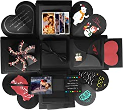 Explosion Box Scrapbook Creative DIY Photo Album de Accesorios para cumpleaños Aniversario Boda San Valentín Día de la Madre Navidad (Negro)