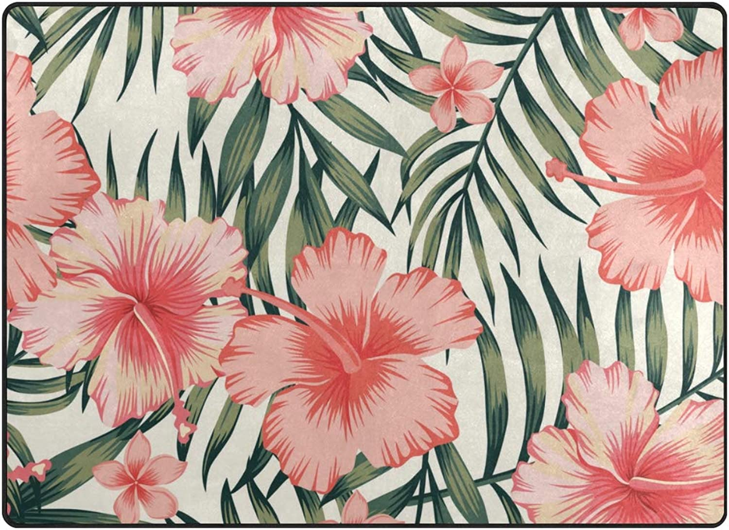 SUABO 80 x 58 inches Area Rug Non-Slip Floor Mat Tropical Floral Printed Doormats Living Room Bedroom