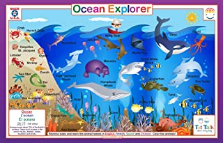 Tot Talk Ocean Explorer Educational Placemat for Kids, Washable and Long-Lasting
