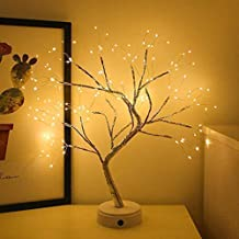 Led Bonsai Tree Light, Artificial Tree, Battery and Usb Operated, 6 Hrs Timer, Adjustable Branches (Warm White Glow Silver...