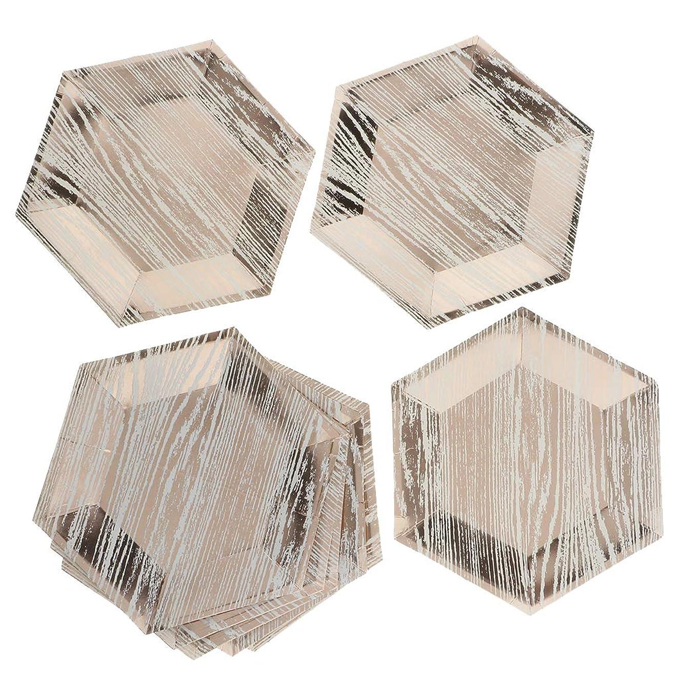 マーキー信頼性トランスミッションBaoblaze 8本 使い捨て プレート お皿 紙皿 食器 ホームパーティー レストラン 3色2サイズ選べ - ローズゴールド, 9インチ
