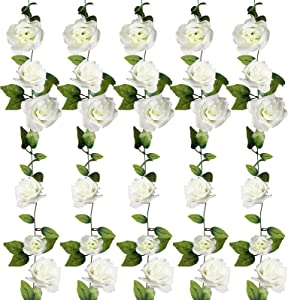 FloraSea 5 Pack 40 ft Fake Rose Garland, Artificial Silk White Rose Flower Vines, Hanging Floral Garland, Wedding Flowers String Party Arch Garden Decor for Party Decoration