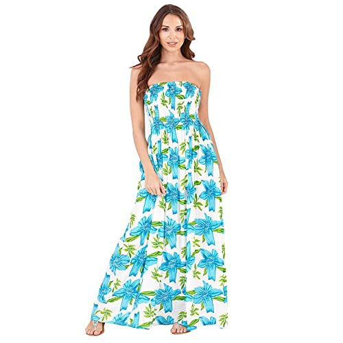 d7a4a89a3f4b Pistachio Womens Bandeau Paisley Print Maxi Dress Summer New Full Length  Skirt
