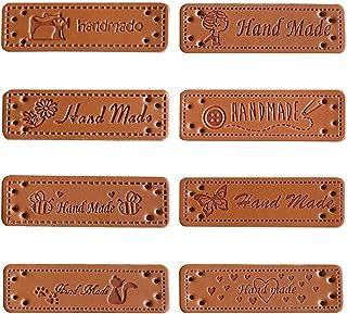 HEYJUDY Etiqueta de couro sintético feita à mão com 32 peças, etiqueta de couro sintético feita à mão com 4 furos, roupas,...