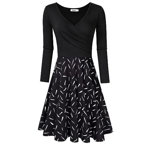 MISSKY Women s V-Neck A-line Floral Party Knee Length Dress b6d6c6136