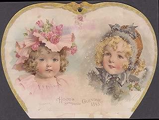 Hood Sarsaparilla 1895 calendar topper trade card Summer Winter