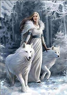 Kit per pittura a mosaico 5D con diamanti sintetici,pittura diamante 5d fai da te motivo: principessa e lupo, pittura diam...