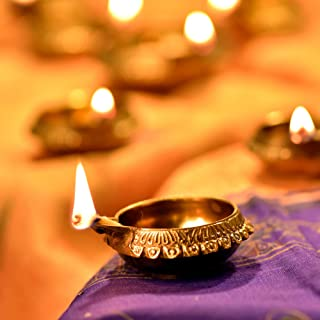 (8) - Hashcart Handmade (Set of 8) Indian Puja Brass Oil Lamp - Diya Lamp Engraved Design Dia - 6.4cm