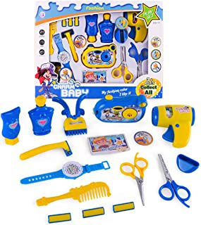 WOLFBUSH 16Pcs Salon Hairstyle Play Set Kit for Children Pretend Play Barber Kit Hair Dryer with Sound and Light