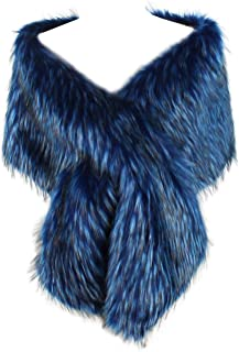 Dikoaina Womens Extra Large Faux Fur Shawl Wrap Stole Cape for Wedding/party/show