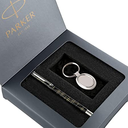 Parker Vector Gift Set - Parker Spark Black Special Edition Roller Ball Pen with Parker Round Key Chain (Ink - Blue)