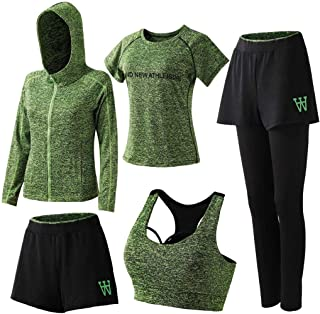HOME-Nicer Women's Activewear Set 5 Piece Yoga Jogging Workout Clothes Athletic Tracksuits,01-green,Large