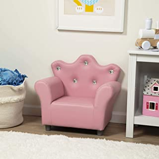 """Melissa & Doug Child's Crown Armchair, Pink Faux Leather Children's Furniture (Armchair for Kids, 17.5"""" H x 18.3"""" W x 23"""" L, Great Gift for Girls and Boys - Best for 3, 4, 5 Year Olds and Up)"""