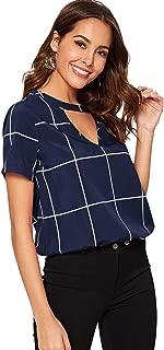 Floerns Women's Long Sleeve Plaid V Neck Keyhole Elegant Work Blouse Top