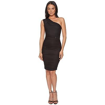 Nicole Miller One Shoulder Zip Dress (Black) Women