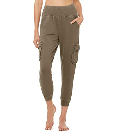 ALO Washed 7/8 High-Waist Cargo Sweatpants (Olive Branch Wash) Women