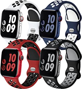 Adorve Compatible with Apple Watch Band 45mm 44mm 42mm SE iWatch Series 7 6 5 4 3 2 1 for Women Men, Breathable Sport Silicone Replacement Strap, Blue White/White Black/Black Gray/Red Black, M/L