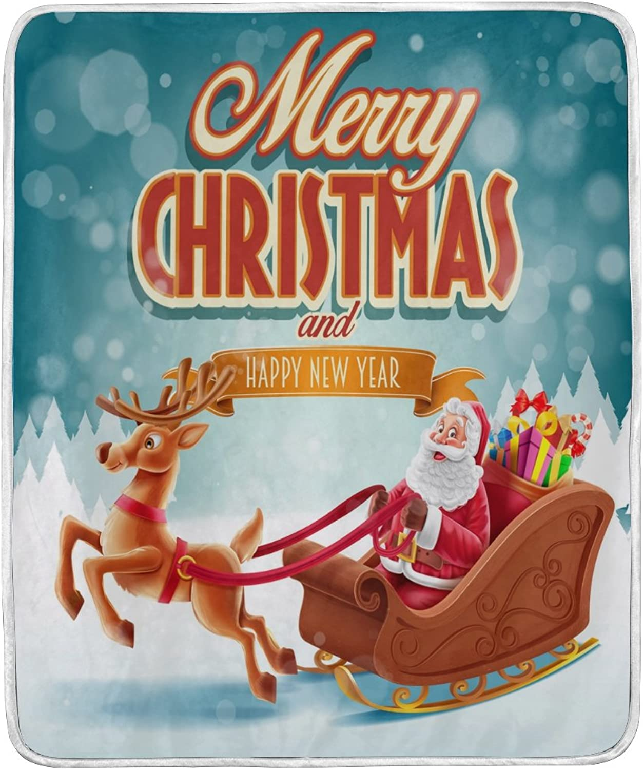 ALAZA Home Decor Merry Christmas Deer Santa Claus New Year Soft Warm Blanket for Bed Couch Sofa Lightweight Travelling Camping 60 x 50 inch Throw Size for Kids Boys Girls