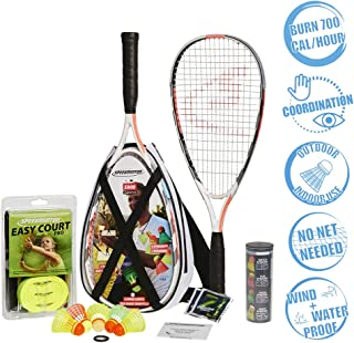 Speedminton S900 Set - Original Speed ​​Badminton/crossminton Professional Set with 2 Carbon Rackets incl. 5 Speeder, Playing Field, Bag