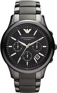 ساعة سيراميكا كرونوغراف للرجال بمينا سوداء وسوار سيراميك من امبوريو ارماني موديل AR1452