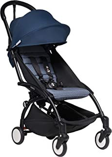 Babyzen YOYO2 Stroller - Black Frame with Air France Blue Seat Cushion & Canopy