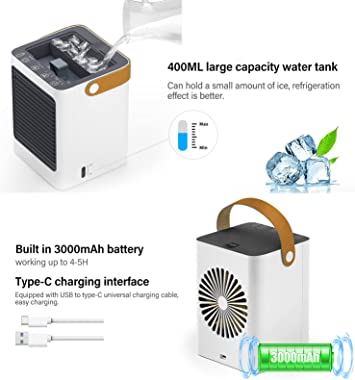 Portable Air Conditioner Fan, Evaporative Air Cooler, Fast Cooling, Built in 3000mAh Battery, USB Rechargeable, with Timer, Q