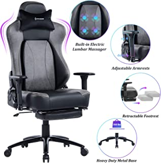 VON RACER Big & Tall 350lbs Massage Gaming Chair with Retractable Footrest - Adjustable Back Angle and Arms Ergonomic High-Back Leather Racing Executive Computer Desk Office Chair Metal Base, Gray