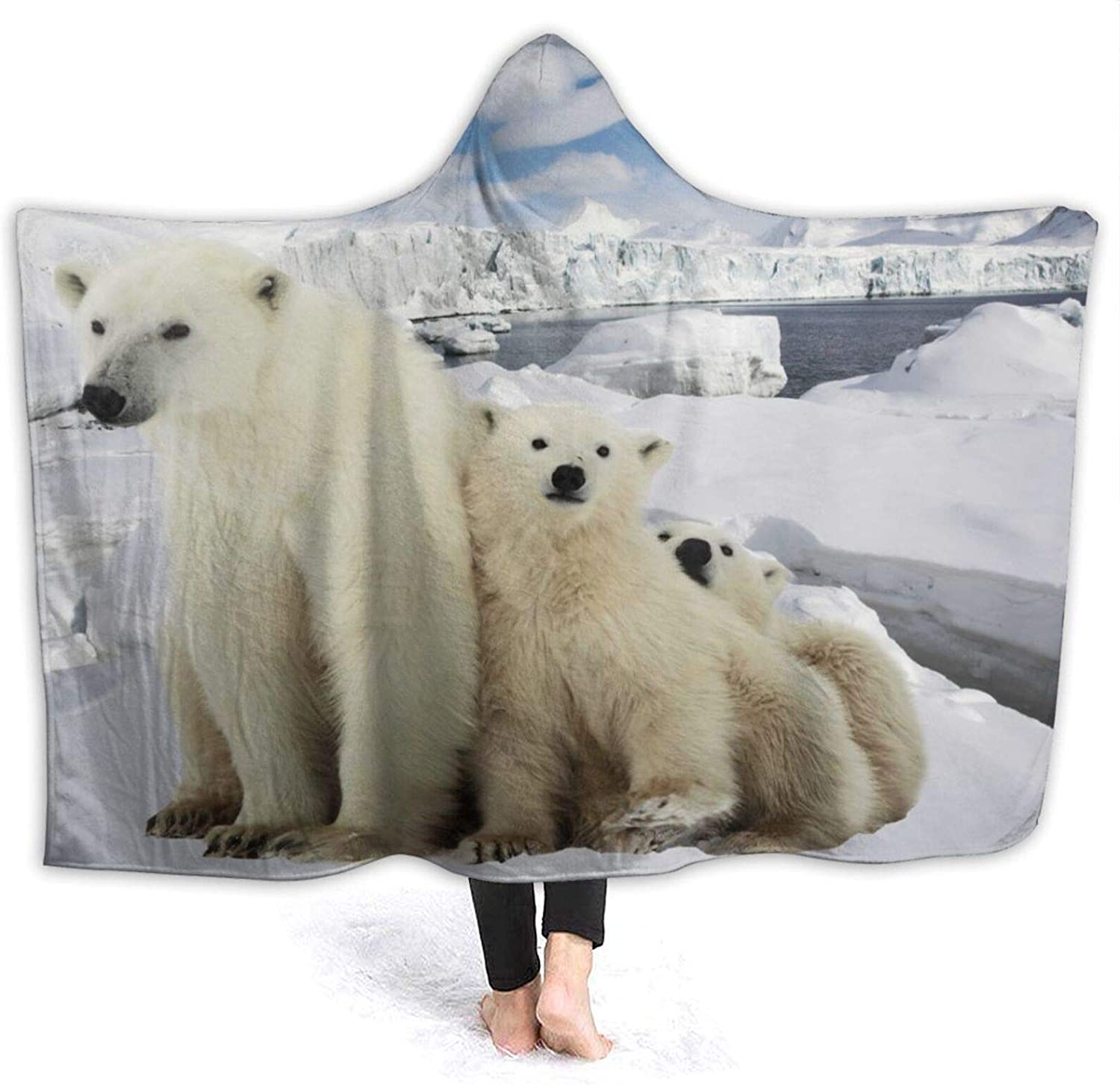 Minalo Wearable Hooded Blanket Plush National products wit Chicago Mall The Polar She-Bear Wrap