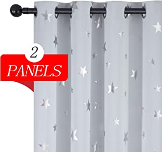 Estelar Textiler White Curtains Star Print Pattern...