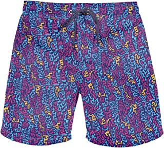 Men's Retro Summer Beach Shorts - Neon Shorts with Drawstring