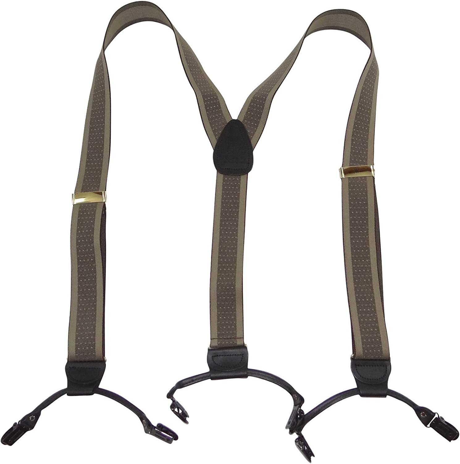 Holdup Memphis Mall Brand Tan and Taupe Max 89% OFF Weave Jacquard Double-Up Suspenders w