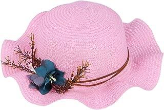 FENICAL - Sombrero de playa para niños, transpirable, ala de flores, sombrero de paja para el sol, protección para bebés y niños pequeños (rosa)