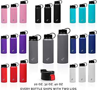 Day 1 Fitness Stainless Steel Water Bottle Wide Mouth with 2 LIDS (20 oz, 32 oz, or 40 oz) - 3 Size and 8 Color Options – Vacuum Insulated, Double Walled, Powder-Coated Sweat Proof Thermos