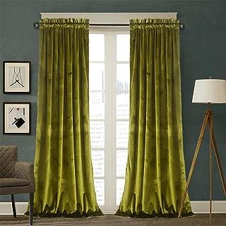 Roslynwood Velvet Curtains 2 Panels Set, Blackout Thermal Insulated Velour Rod Pocket Drapes for Bedroom and Living Room (52 x 84 inch, OliveGreen)