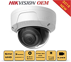 5MP PoE Security IP Camera - Compatible as Hikvision DS-2CD2155FWD-I Dome Onvif IR Night Vision Weatherproof WideAngle 2.8mmLens Best for Home and Business Security 3 Year Warranty