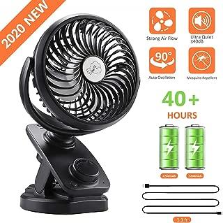 COMLIFE F170 Clip On Stroller Fan, Mini Portable Desk Fan with Auto Oscillation, 4400mAh..